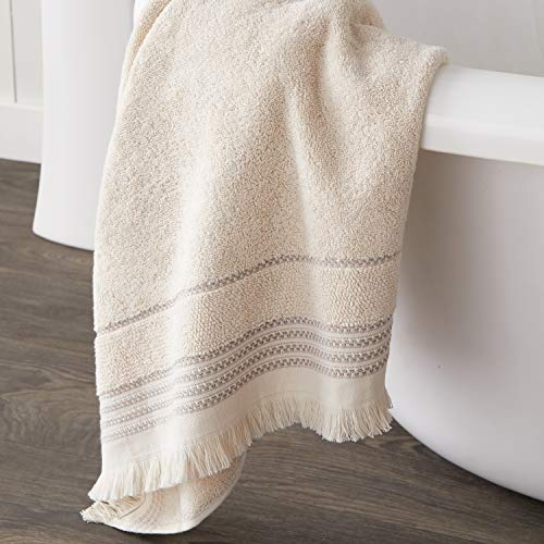 SKL Home By Saturday Knight Ltd Jude Fringe 2 Piece Hand Towel Set Taupe 0 2