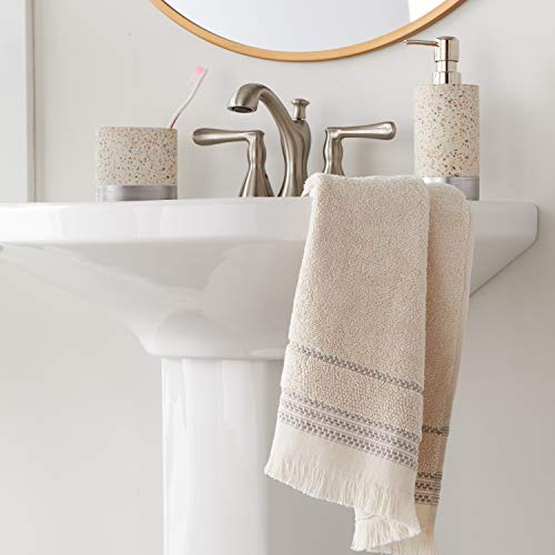 SKL Home By Saturday Knight Ltd Jude Fringe 2 Piece Hand Towel Set Taupe 0 3