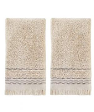 SKL Home By Saturday Knight Ltd Jude Fringe 2 Piece Hand Towel Set Taupe 0 300x360