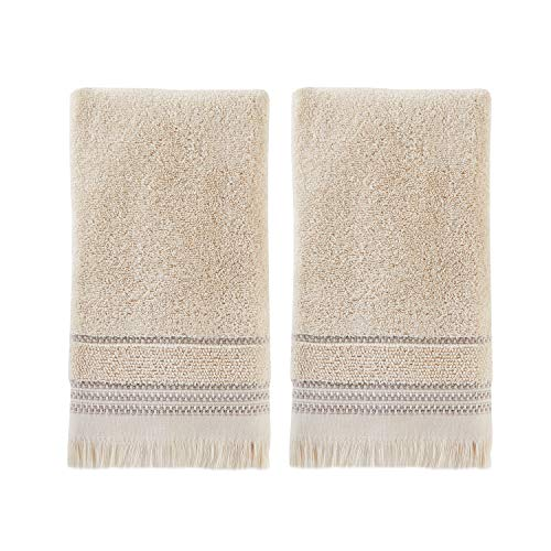 SKL Home By Saturday Knight Ltd Jude Fringe 2 Piece Hand Towel Set Taupe 0