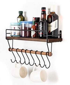 SODUKU Floating Shelf Wall Shelf For Storage Rustic Wood Kitchen Spice Rack And Bathroom Shelf With Rail And Removable Towel Bar And 8 Hooks Brown 0 0 300x360