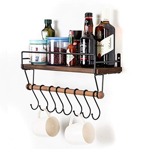 SODUKU Floating Shelf Wall Shelf For Storage Rustic Wood Kitchen Spice Rack And Bathroom Shelf With Rail And Removable Towel Bar And 8 Hooks Brown 0 0