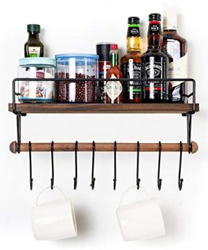 SODUKU Floating Shelf Wall Shelf For Storage Rustic Wood Kitchen Spice Rack And Bathroom Shelf With Rail And Removable Towel Bar And 8 Hooks Brown 0 1 300x360