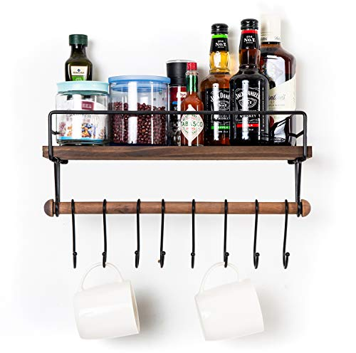 SODUKU Floating Shelf Wall Shelf For Storage Rustic Wood Kitchen Spice Rack And Bathroom Shelf With Rail And Removable Towel Bar And 8 Hooks Brown 0 1