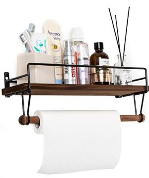 SODUKU Floating Shelf Wall Shelf For Storage Rustic Wood Kitchen Spice Rack And Bathroom Shelf With Rail And Removable Towel Bar And 8 Hooks Brown 0 2 300x360