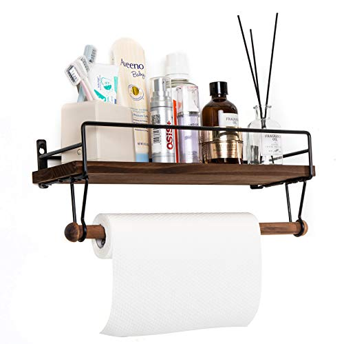 SODUKU Floating Shelf Wall Shelf For Storage Rustic Wood Kitchen Spice Rack And Bathroom Shelf With Rail And Removable Towel Bar And 8 Hooks Brown 0 2