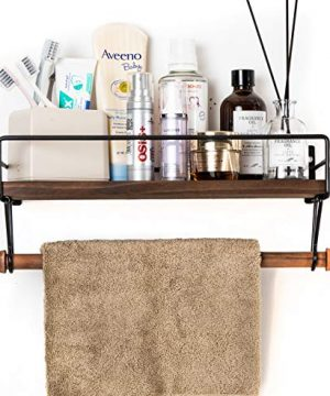 SODUKU Floating Shelf Wall Shelf For Storage Rustic Wood Kitchen Spice Rack And Bathroom Shelf With Rail And Removable Towel Bar And 8 Hooks Brown 0 3 300x360