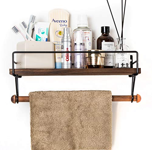 SODUKU Floating Shelf Wall Shelf For Storage Rustic Wood Kitchen Spice Rack And Bathroom Shelf With Rail And Removable Towel Bar And 8 Hooks Brown 0 3