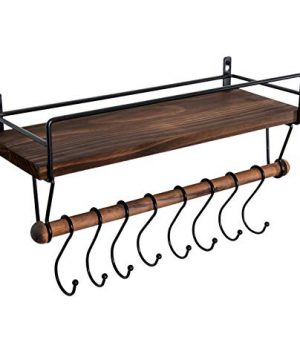 SODUKU Floating Shelf Wall Shelf For Storage Rustic Wood Kitchen Spice Rack And Bathroom Shelf With Rail And Removable Towel Bar And 8 Hooks Brown 0 300x360