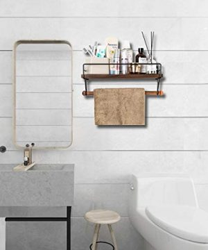 SODUKU Floating Shelf Wall Shelf For Storage Rustic Wood Kitchen Spice Rack And Bathroom Shelf With Rail And Removable Towel Bar And 8 Hooks Brown 0 5 300x360