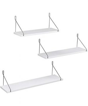 SONGMICS Wall Shelves Floating Shelf Set Of 3 Decorative Shelves For Living Room Kitchen Hallway Different Length 157 Inches 197 Inches 236 Inches White ULWS68WT 0 300x360