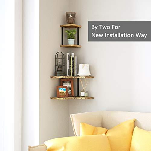 SRIWATANA Rustic Corner Shelf 2 Tier Wood Wall Shelf Wall Mounted Storage Shelves For Bedroom Living Room Bathroom 0 1