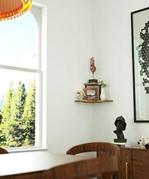 SRIWATANA Rustic Corner Shelf 2 Tier Wood Wall Shelf Wall Mounted Storage Shelves For Bedroom Living Room Bathroom 0 2 300x360