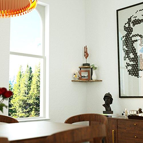 SRIWATANA Rustic Corner Shelf 2 Tier Wood Wall Shelf Wall Mounted Storage Shelves For Bedroom Living Room Bathroom 0 2