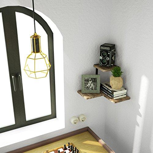 SRIWATANA Rustic Corner Shelf 2 Tier Wood Wall Shelf Wall Mounted Storage Shelves For Bedroom Living Room Bathroom 0 3