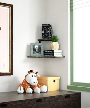 SRIWATANA Rustic Corner Shelf 2 Tier Wood Wall Shelf Wall Mounted Storage Shelves For Bedroom Living Room Bathroom Weathered Grey 0 1 300x360