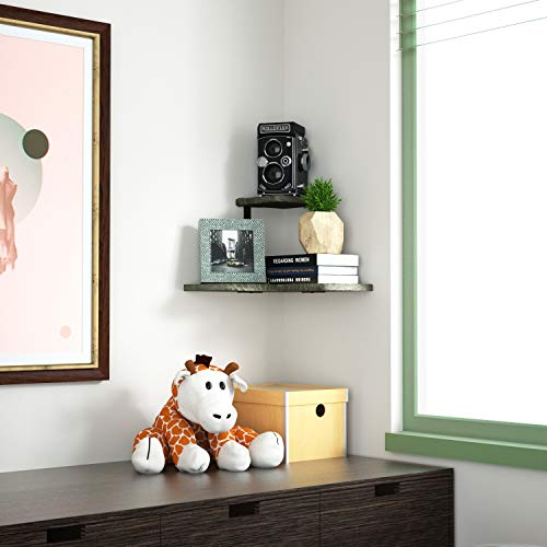 SRIWATANA Rustic Corner Shelf 2 Tier Wood Wall Shelf Wall Mounted Storage Shelves For Bedroom Living Room Bathroom Weathered Grey 0 1