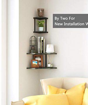 SRIWATANA Rustic Corner Shelf 2 Tier Wood Wall Shelf Wall Mounted Storage Shelves For Bedroom Living Room Bathroom Weathered Grey 0 3 300x360