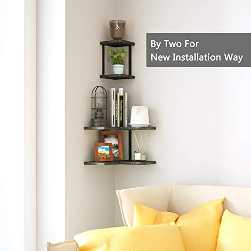 SRIWATANA Rustic Corner Shelf 2 Tier Wood Wall Shelf Wall Mounted Storage Shelves For Bedroom Living Room Bathroom Weathered Grey 0 3