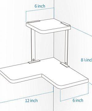 SRIWATANA Rustic Corner Shelf 2 Tier Wood Wall Shelf Wall Mounted Storage Shelves For Bedroom Living Room Bathroom Weathered Grey 0 4 300x360
