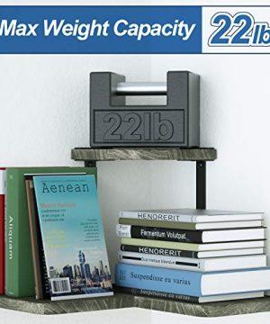 SRIWATANA Rustic Corner Shelf 2 Tier Wood Wall Shelf Wall Mounted Storage Shelves For Bedroom Living Room Bathroom Weathered Grey 0 5 300x360