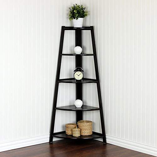SSLine 5 Shelf Corner Bookshelf Corner Ladder Shelf Wood A Shaped Display Corner Shelf Storage Rack Bookshelf Plant Flower Stand For Home Office 0 1