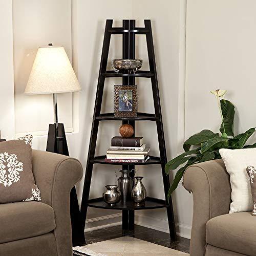 SSLine 5 Shelf Corner Bookshelf Corner Ladder Shelf Wood A Shaped Display Corner Shelf Storage Rack Bookshelf Plant Flower Stand For Home Office 0 2
