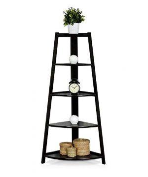 SSLine 5 Shelf Corner Bookshelf Corner Ladder Shelf Wood A Shaped Display Corner Shelf Storage Rack Bookshelf Plant Flower Stand For Home Office 0 3 300x360