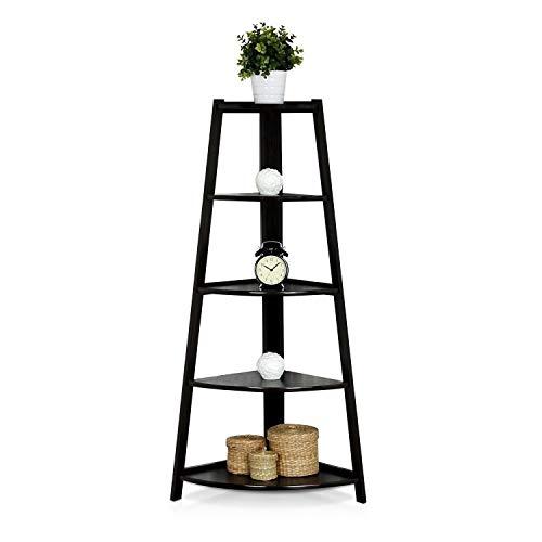 SSLine 5 Shelf Corner Bookshelf Corner Ladder Shelf Wood A Shaped Display Corner Shelf Storage Rack Bookshelf Plant Flower Stand For Home Office 0 3