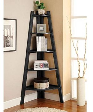 SSLine 5 Shelf Corner Bookshelf Corner Ladder Shelf Wood A Shaped Display Corner Shelf Storage Rack Bookshelf Plant Flower Stand For Home Office 0 300x360