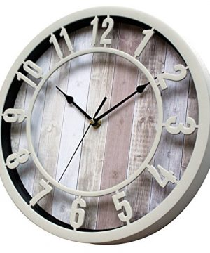 SUNBRIGHT 12 Inch Rustic Decorative Noiseless Wall Clock Silent Non Ticking For Home Office School Cream 0 300x360