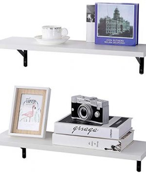 SUPERJARE Wall Mounted Shelves Set Of 2 Display Ledge Storage Rack For RoomKitchenOffice White 0 300x360