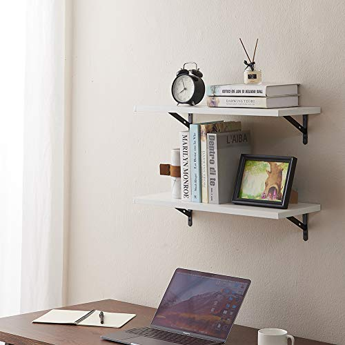 SUPERJARE Wall Mounted Shelves Set Of 2 Display Ledge Storage Rack For RoomKitchenOffice White 0 5
