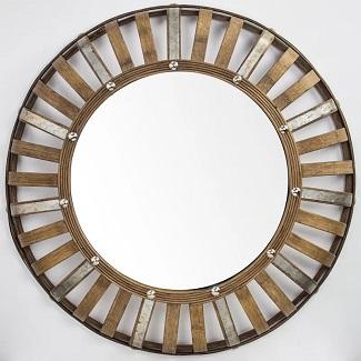 Seacliff Bamboo and Metal Farmhouse Wall Mirror