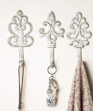 Antique Screws and Anchors for Mounting Included French Country Charm Rustic Set of 3 Large Decorative Hanging Hooks Shabby Chic Cast Iron Decorative Wall Hooks Cooper