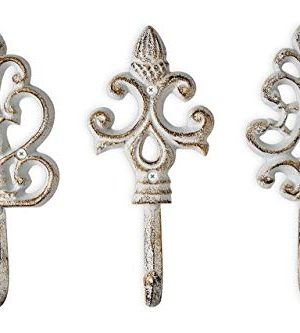 Shabby Chic Cast Iron Decorative Wall Hooks Rustic Antique French Country Charm Large Decorative Hanging Hooks Set Of 3 Screws And Anchors For Mounting Included 0 300x333