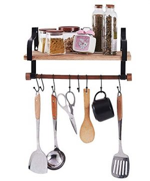 Shelving Solution Floating Shelves Wall Mounted With Towel Bar And 8 Removable Hooks 0 0 300x360