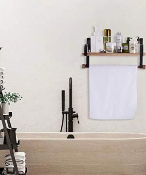 Shelving Solution Floating Shelves Wall Mounted With Towel Bar And 8 Removable Hooks 0 1 300x360
