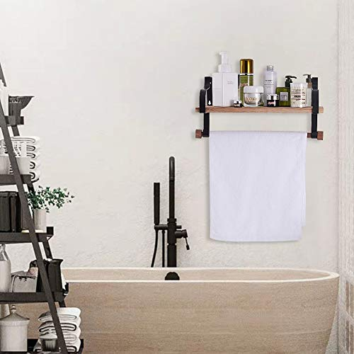 Shelving Solution Floating Shelves Wall Mounted With Towel Bar And 8 Removable Hooks 0 1