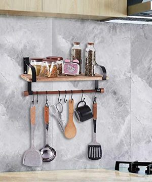 Shelving Solution Floating Shelves Wall Mounted With Towel Bar And 8 Removable Hooks 0 3 300x360