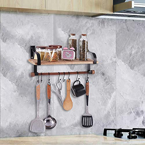 Shelving Solution Floating Shelves Wall Mounted With Towel Bar And 8 Removable Hooks 0 3