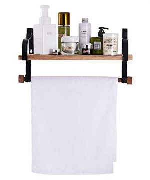 Shelving Solution Floating Shelves Wall Mounted With Towel Bar And 8 Removable Hooks 0 4 300x360