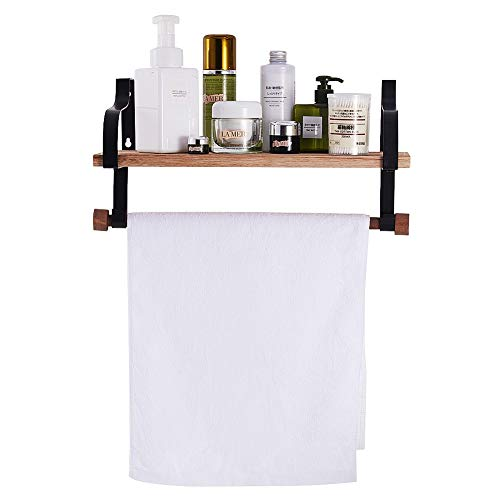 Shelving Solution Floating Shelves Wall Mounted With Towel Bar And 8 Removable Hooks 0 4