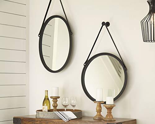 Signature Design By Ashley Dusan Accent Mirror Circular Metal Frame Black 0 1