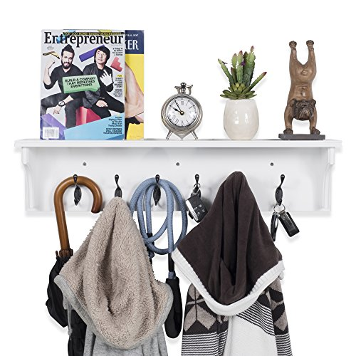Solid Wood Entryway Organization Wall Mountable 30 Inch Coat Rack With 6 Hooks White 0 0