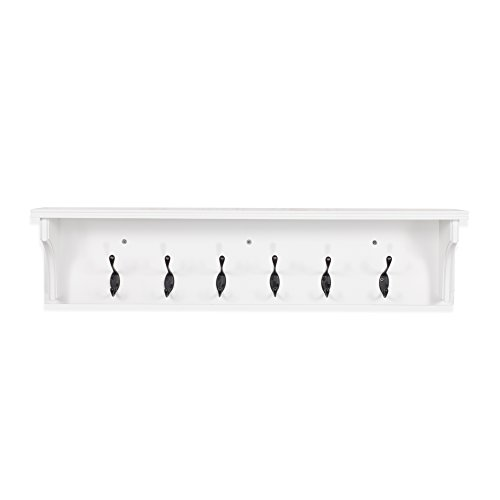 Solid Wood Entryway Organization Wall Mountable 30 Inch Coat Rack With 6 Hooks White 0 2