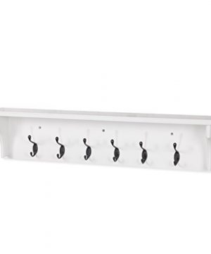 Solid Wood Entryway Organization Wall Mountable 30 Inch Coat Rack With 6 Hooks White 0 3 300x360