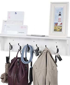Solid Wood Entryway Organization Wall Mountable 30 Inch Coat Rack With 6 Hooks White 0 300x360