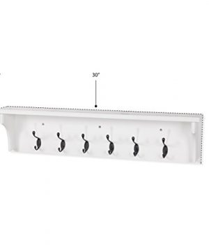 Solid Wood Entryway Organization Wall Mountable 30 Inch Coat Rack With 6 Hooks White 0 4 300x360