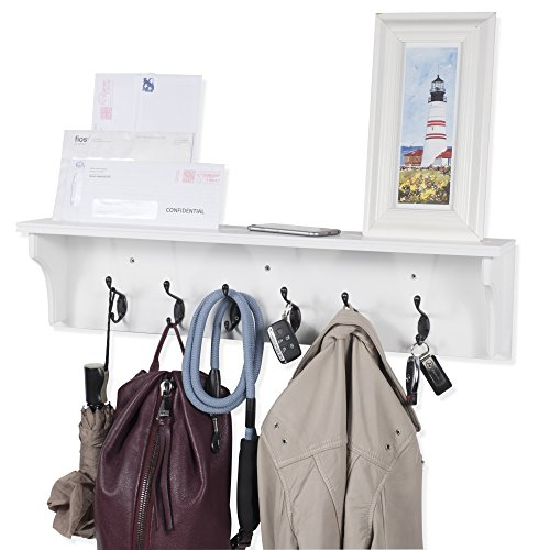 Solid Wood Entryway Organization Wall Mountable 30 Inch Coat Rack With 6 Hooks White 0